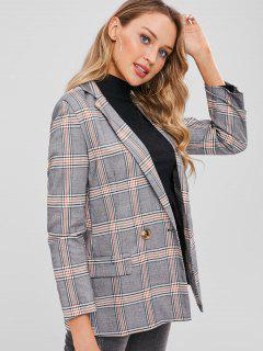 Flap Pockets Checked Double Breasted Blazer - Multi M