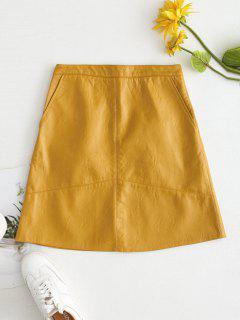 Faux Leather Back Zipper Skirt - Golden Brown M