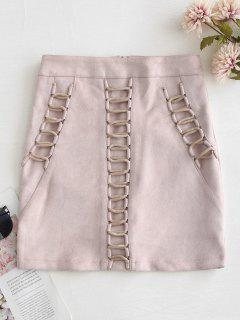 Faux Suede Criss Cross Skirt - Pig Pink L