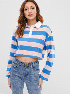 Color Block Striped Tee With Shirt Collar - Multi L