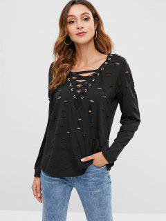 Lace-up Ripped T-shirt - Black M