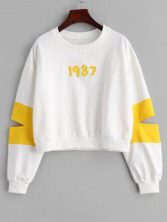 Two Tone Cutout Sweatshirt - White