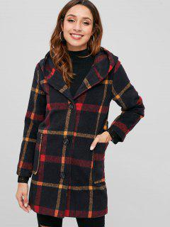 Pom Pom Hood Checked Faux Wool Coat - Red L