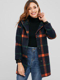 Pom Pom Hood Checked Faux Wool Coat - Orange M
