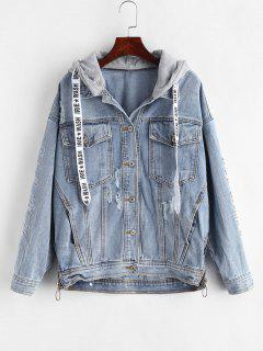 Embroidered Beaded Ripped Jean Jacket - Denim Blue L