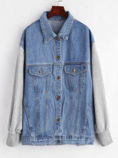 Jersey Sleeves Boyfriend Denim Jacket - Cornflower Blue L