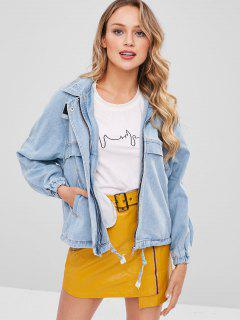 Raglan Sleeve Denim Jacket - Pastel Blue S