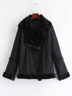 Faux Fur Suede Winter Biker Jacket - Black L