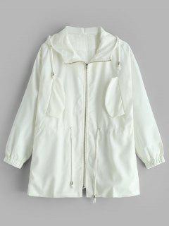 Drawstring Waist Hooded Zip Up Jacket - White M