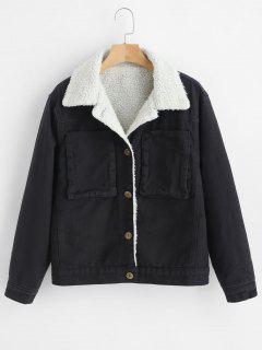 Button Front Sheepskin Coat - Black M