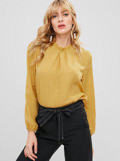 Blusa De Cuello De Volantes De Color Sólido - Amarillo S