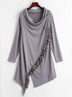 Cowl Neck Tassels Tunic Top - Carbon Gray M