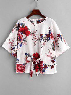 Blusa Con Nudo Delantero Estampado De Flores - Multicolor S