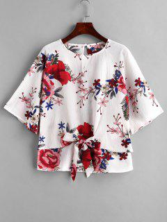 Blumendruck Front Knot Bluse - Multi L