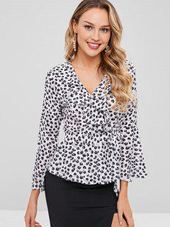 Ruffles Bell Sleeve Wrap Blouse - Black M