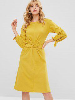 Belted Tie Cuff Casual Dress - Yellow M