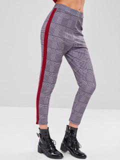 Side Stripe Checked Pants - Red Wine S