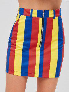 Minifalda A Rayas Con Cremallera Media De ZAFUL - Multicolor S