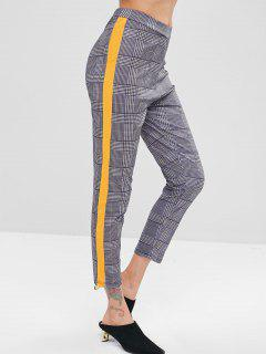 Side Stripe Checked Pants - Mustard S
