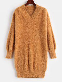 Mini V Neck Fuzzy Sweater Dress - Dark Orange