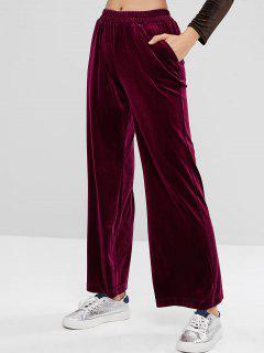 High Waisted Velvet Wide Leg Pants - Red Wine L