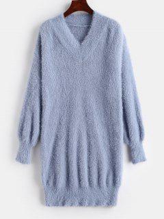 Robe Pull Mini Col V - Ardoise Bleue