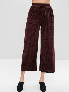 Pantalon En Velours Texturé à Jambes Larges - Marron Velours