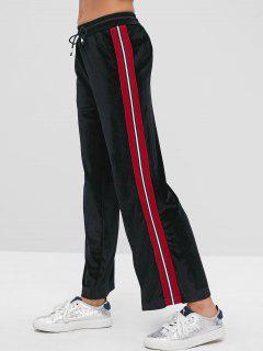 Side Striped Velvet Drawstring Pants - Black L