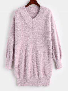 Mini V Neck Fuzzy Sweater Dress - Lilac