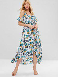 Ruffles Cold Shoulder Pineapple Dress - Multi L