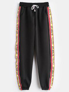 Pantalones Jogger De Talle Alto Con Letras - Negro L