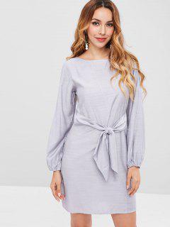 Tie Front Mini Long Sleeve Dress - Blue Gray M