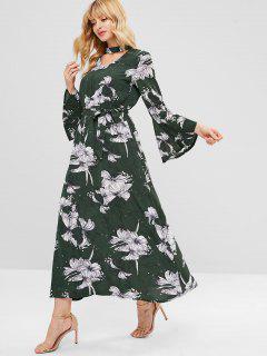 Floral Choker Flare Sleeve Maxi Dress - Hazel Green S