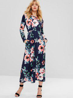 Flower Print Long Sleeve Dress - Deep Blue S