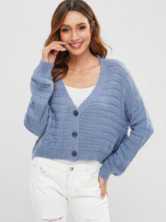 Drop Shoulder Low Cut Strickjacke - Pastellblau