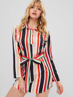 Robe Chemise à Rayures Colorées - Multi Xl