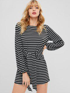 Long Sleeve Striped Tee Dress - Black L