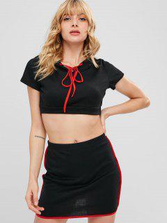 Contrasting Trim Two Piece Dress - Black L