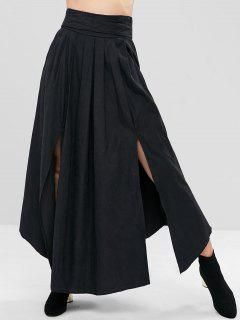 Slit Pleated-detail Maxi Skirt - Black L