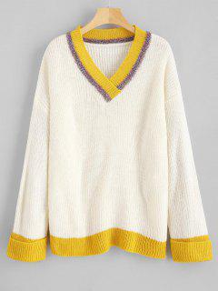 Shiny Thread Color Block V Neck Sweater - White