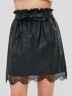 Lace Panel Belted Faux Leather Skirt - Black M
