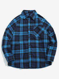 Chest Pocket Checked Shirt - Deep Blue S