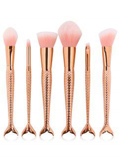 6Pcs Mermaid Shaped Handles Ultra Soft Travel Makeup Brush Suit - Multi-e