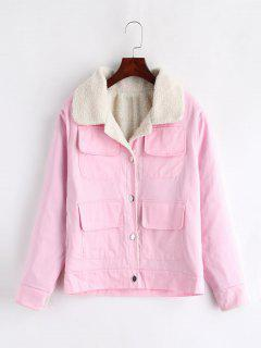 Single Breasted Pocket Boxy Jacket - Pink 2xl