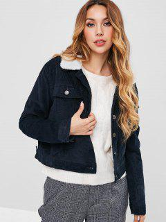 Faux Shearling Lined Corduroy Jacket - Deep Blue L