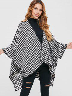 Houndstooth Batwing Oversized Cloak Coat - Black