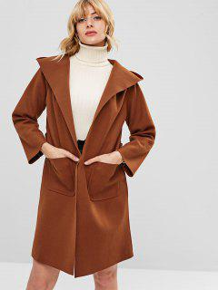 Hooded Belted Pocket Longline Coat - Brown