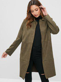 Faux Suede Lapel Coat - Army Green L