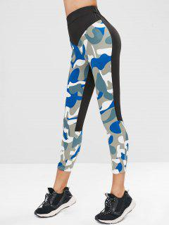 Elastic Waist Splicing Camouflage Leggings - Multi M