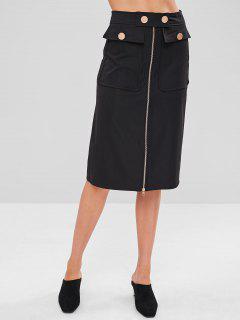 Zip Through Pockets Midi Skirt - Black M
